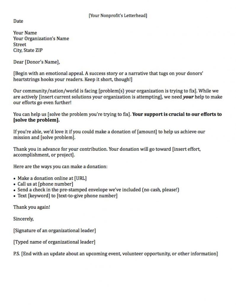 Trust Donation Request Letter