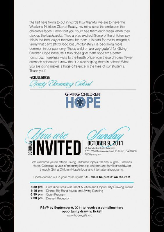 Giving Children Hope Gala event invitation sample letter