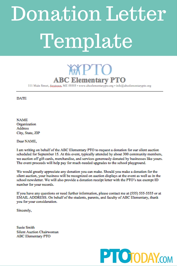 PTO Sample Donation Request Letter For A School Or Educational Institution