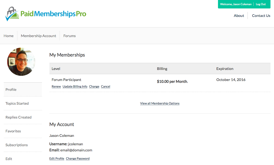 This PaidMembershipsPro profile is how many profile pages look.