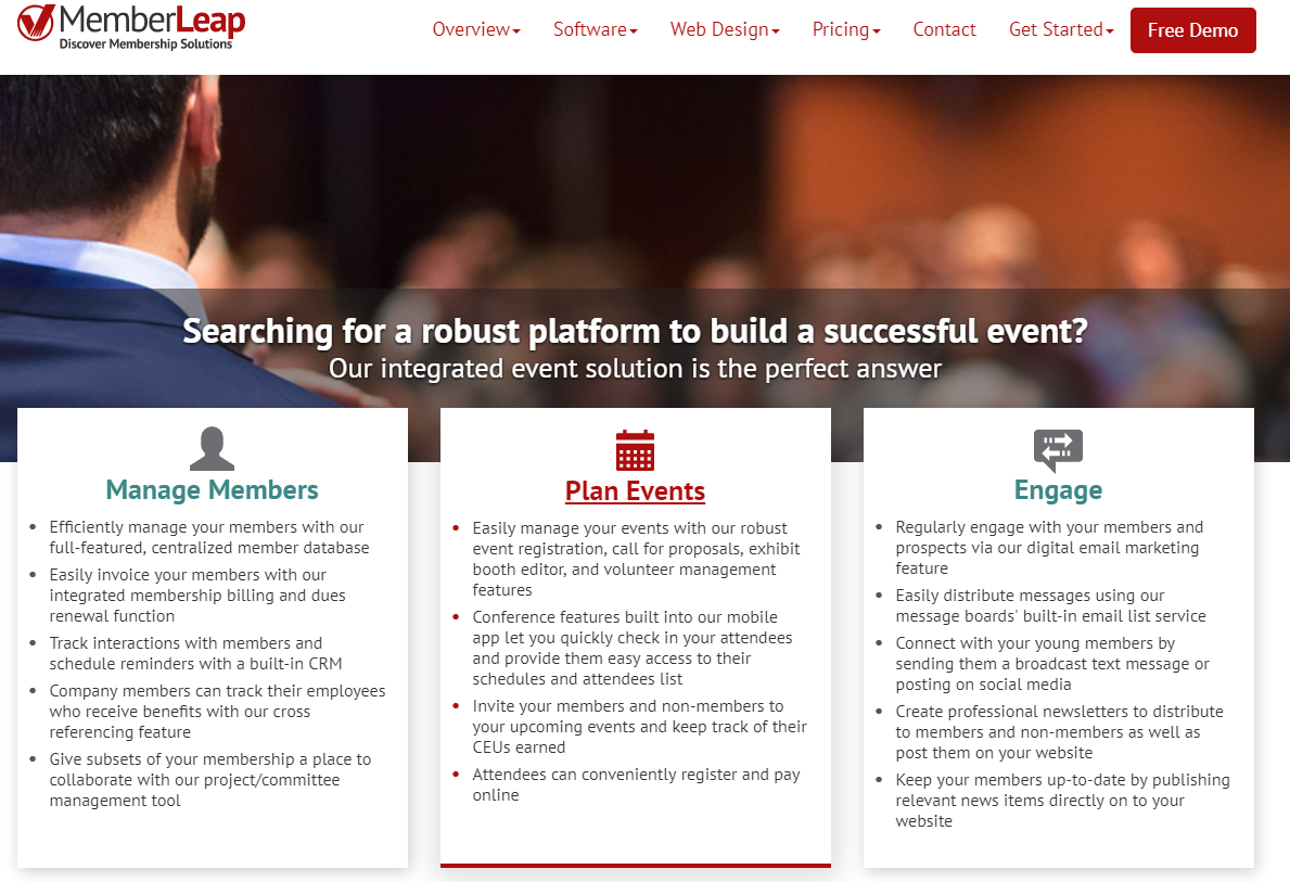 MemberLeap is a membership management platform that allows for in-depth event management.