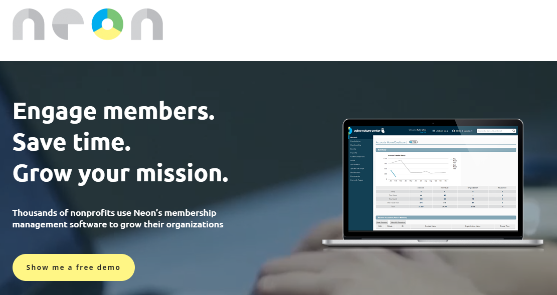 Neon is a paid membership management platform created by those from a nonprofit background, focused on helping nonprofits.